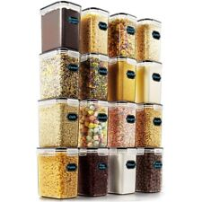 16Pcs Plastic Cereal Dispenser Set - Dry Food Snack Nut Storage Containers Clear