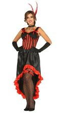 Red Can Can Costume Saloon Show Girl Fancy Dress Burlesque Wild West Outfit