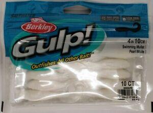 "Berkley Gulp 4"" 10 pack Swimming Mullet Pearl White Brand New FREE Ship US"