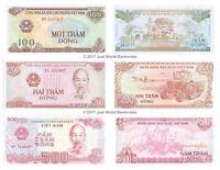 Vietnam 100 + 200 + 500 Dong Set of 3 Banknotes 3 PCS UNC