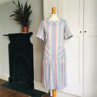 Vintage 70s Blue Pink Yellow Check Print Cotton Blend Zip Up Dress Pockets 8 10
