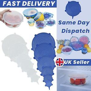 Silicone Food Bowl Cover Stretch Reusable Storage Wraps Lids 12pcs Seals set