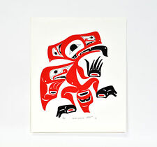"Northwest Native American Raven Silkscreen Print 17"" x 15"" Haida Colors Signed"