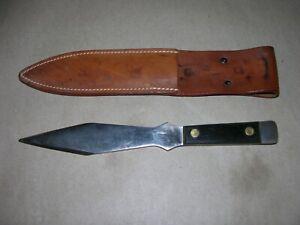 Vintage Olsen OK HC. MI Throwing Knife with Sheath