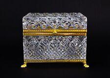 Bohemia Czechoslovakia Cut Crystal Glass Hinged Casket Trinket Box Vintage
