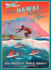 Honolulu Hawaii Surf Oahu Vintage United States Travel Ad Art HD Printed Poster