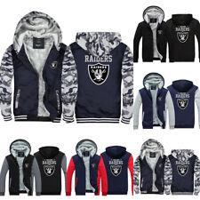 Oakland Raiders Hoodies Thicken Hooded Winter Warm Sweatshirt Fleece Jacket Coat