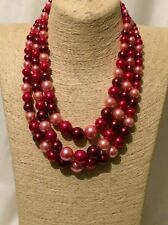 Womens Statement Multi Coloured Red Bead Faux Pearl Necklace Earrings Set
