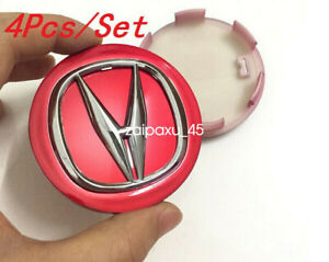 4x Wheel Emblem Hub Center Cap 69mm Badge Red For ACURA² TL MDX  RL RDX TSX