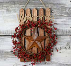 Welcome Sign Pip Berry Wreath Primitive Front Door Decor Red Rusty Star
