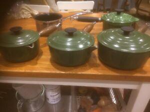 Le Creuset cast iron pan set and Frying Pan.