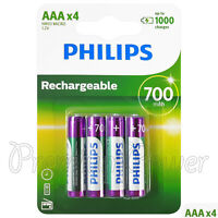 4 x Philips Rechargeable AAA 700 mAh batteries NiMh HR03 1.2V Micro Dect phone