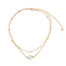 2 Layers Fashion Natural Stone Opal Pendant Necklace Choker Charm Women Jewelry