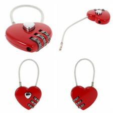 Wire Combination Key Suitcase Red Heart Travel Luggage Small Padlock Lock