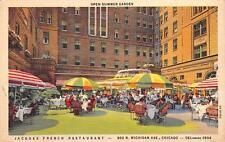 Jacques French Restaurant Open Summer Garden Chicago, Illinois Postcard ca 1940s