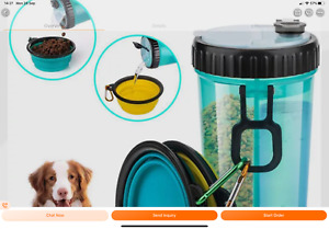 Portable Pet Water Bottle And Food Container For Travel 2-in-1