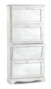 Shoe Cabinet With 4 Doors, Door To Turn, Port Shoes, White CMS 79x30x170H