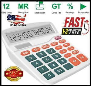 Helect Calculator, Standard Function Desktop Calculator, White