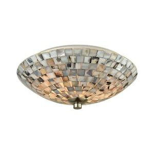 ELK Lighting Capri 2-Light Flush, Nickel/Gray Capiz Shells on - 10401-2