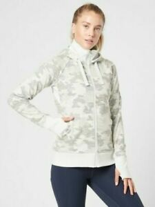 ATHLETA Triumph Printed Hoodie Jacket M MEDIUM Grey Gypsum Camo Commute #511504