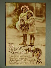 R&L Postcard: Christmas, Girls, Fashion Clothes, Winter Scene, 1919