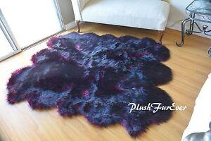 4' x 5' Wolf Skin Rug/ Faux Fur Rug/ Black Tip Pink Wolf Exotic Accents PlushFur