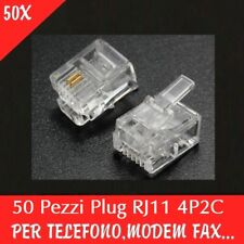 50 Units RJ11 Modular Plug Telephone Connector Connettori Telefoni 4P2C RJ 11