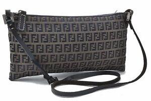 Authentic FENDI Zucchino Shoulder Bag Canvas Leather Navy B2824