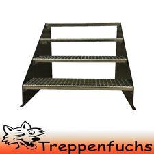 4 Stufen Standtreppe Stahltreppe freistehend Breite 100cm Höhe 84cm Anthrazit