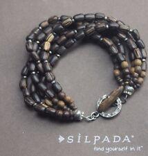B1326 Retired Silpada Brown Beaded Palm Wood Bracelet
