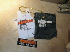 (4) SET OF HOOTERS AUTHENTIC SERVERS TOP (XS) BEADS, SPORT SACK BUMPER STICKER