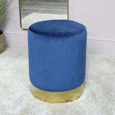 Blue Velvet Stool with Gold Base vintage round luxury seating bedroom decor