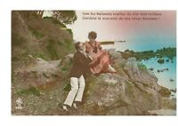 Sitting at Beach Fancy Romantic Couple Victorian Lovers Postcard Hand Colored