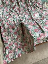 More details for pair of vintage curtains 1980s pink & green floral fully lined 86