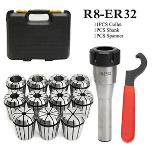 11PC ER32 Precision Spring Collet + R8-ER32 Collet Chuck Morse Lathe Tool Holder