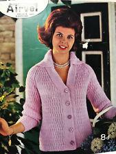 1950s Lace Textured Chunky Big Collar Cardigan Knitting Pattern Pennine 303 PDF