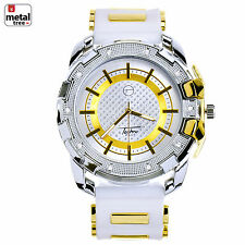 Hip Hop Iced Out 14k Gold Plated Silicone Band Techno Pave Watches WR 8344 TTWH