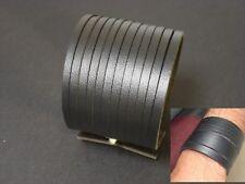 Unisex Leather Bracelet Wristband Wide Black Fast Shipping UK Seller