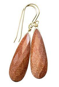 Goldstone Earrings Faceted Long Teardrops Sterling 14k Yellow Gold Sterling Drop