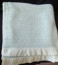Vintage Mint Green Acrylic Blanket Satin Edged Trim JCPenney 80 x 80