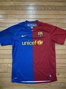 Nike Authentic FC Barcelona Barca FCB Soccer Jersey Shirt Home unicef Large New