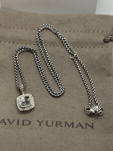 "David Yurman Petite Albion Pendant Necklace with White Topaz and Diamonds 17"""