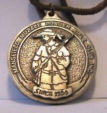 VINTAGE Mansfield Muzzle Loader Rifle Club Inc Pocket Watch Fob Medal Gun Ad