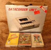 Rare Vintage MSX Data Recorder Sakhr Cassette & 3 games cassette Tapes. مسجل صخر