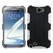 For Galaxy Note 2 Black/White Car Armor Stand Protector Cover (Rubberized)