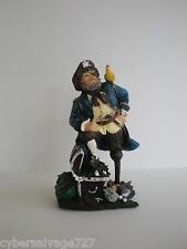 "Pirate w Parrot 6"" Tall Statue Figurine Sculpture Nautical Table Top Desk Decor"