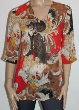 CAPTURE European Brand Floral Chiffon 3/4 Sleeve Tunic Top Size XS BNWT #sO57
