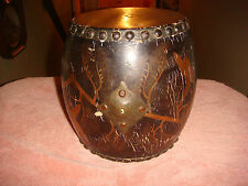 antique CHINESE DRUM musical instrument w/BRASS insert for Strap Asian