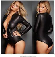 Sexy PU Leather Bodysuit Wet Look Long Sleeve Zip Teddy Leotard Jumpsuit Women's