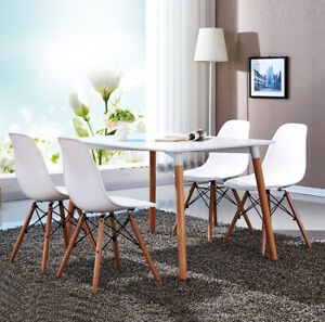 4x Dining Lounge Cafe Kitchen Retro Replica Chairs with Solid Wood Legs